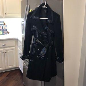 Bebe black wool/patent trim coat